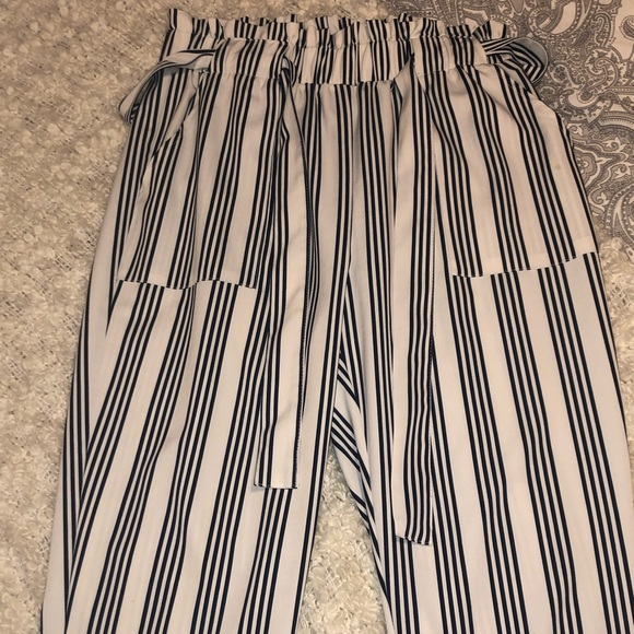 Stripped paper bag waist fitted pants